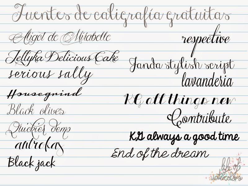 Life of watercolors inspiraci n fuentes de caligraf a - Como mejorar la caligrafia ...