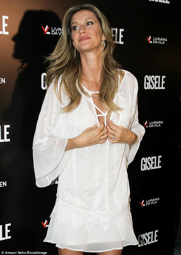 Gisele flaunts enhanced bust at book launch in Sao Paulo