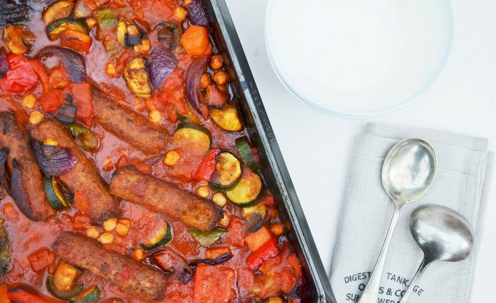 Tinned Tomatoes: Roast Vegetable, Veggie Sausage and Chickpea Bake