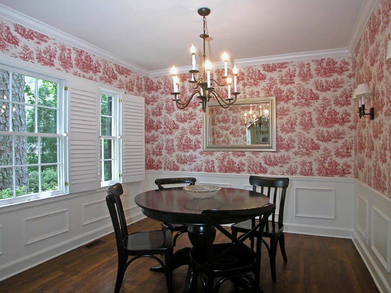 Amazing Red Toile Wallpaper, Boring Chandelier And Lackluster Sconces U2013 But Good  Details With Plantation Shutters, Chair Rail Molding And Gleaming Wood  Floors. Oh, ... Part 4
