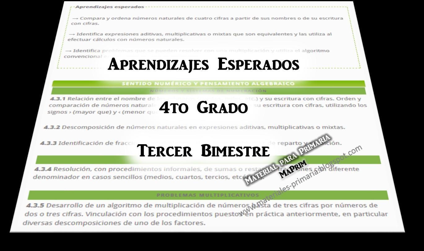 Aprendizajes Esperados de Matemáticas en Cuarto Grado ~ Tercer ...