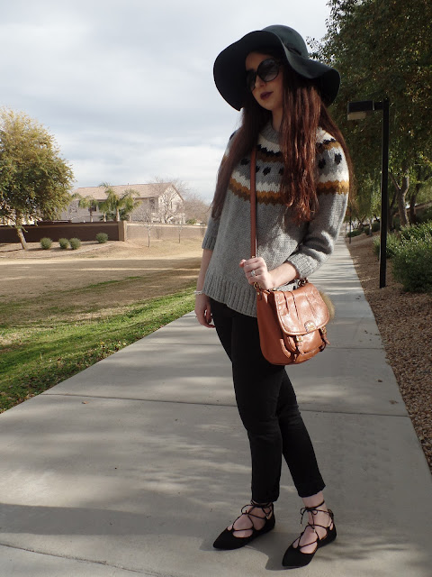 floppy hat leather bag winter outfit