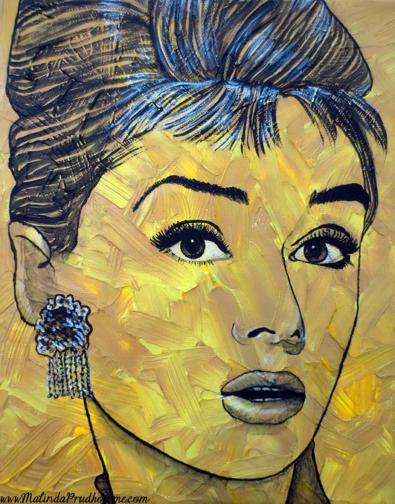 portrait artist, malinda prudhomme, pop art, vintage pop beauties,audrey hepburn, audrey hepburn art, painting, original artwork, original paintings