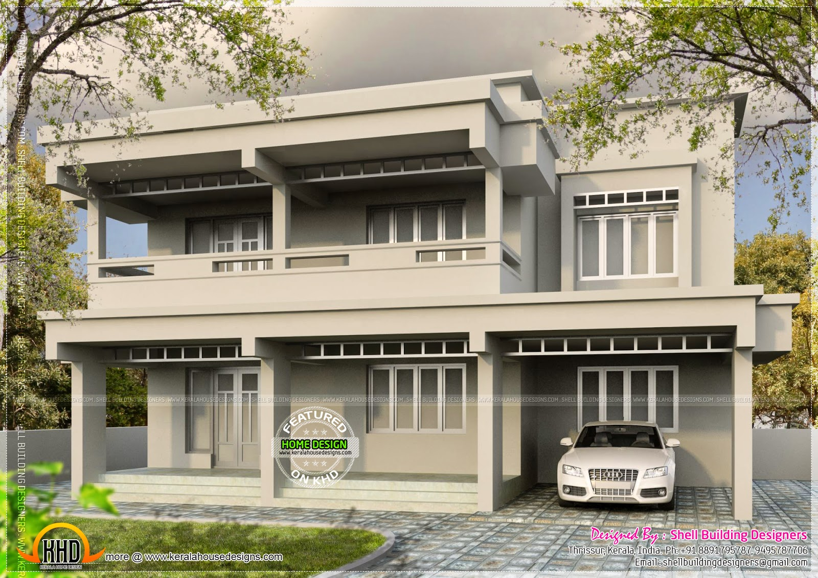 Flat roof 2500 square feet house kerala home design and for 2500 sq ft house plans in kerala