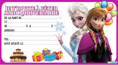 carte d'invitation gratuite Elsa et Anna reine des neiges