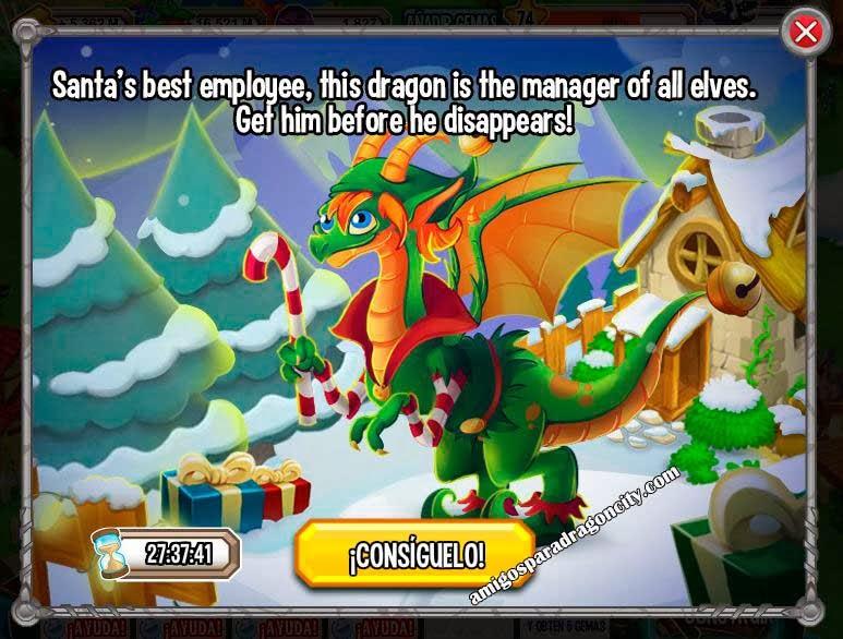 imagen de la promocion del dragon elfo de navidad de dragon city