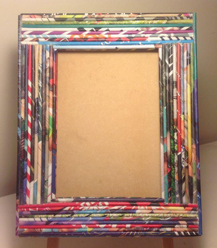 Reciclar reutilizar y reducir marcos de fotos decorados - Papel decorado manualidades ...