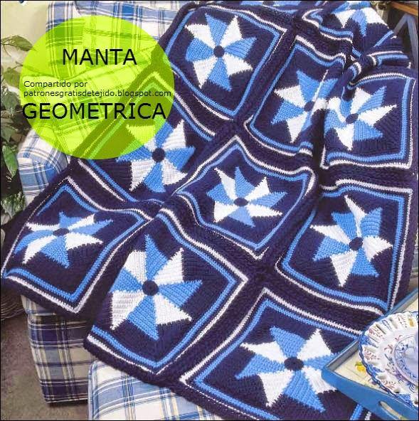 Manta crochet diseño geométrico