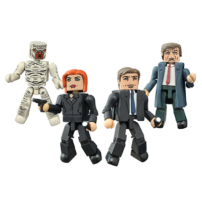 """Classic"" The X-Files Minimates Box Set by Diamond Select Toys - Agent Mulder, Agent Scully, Flukeman & the Cigarette-Smoking Man"