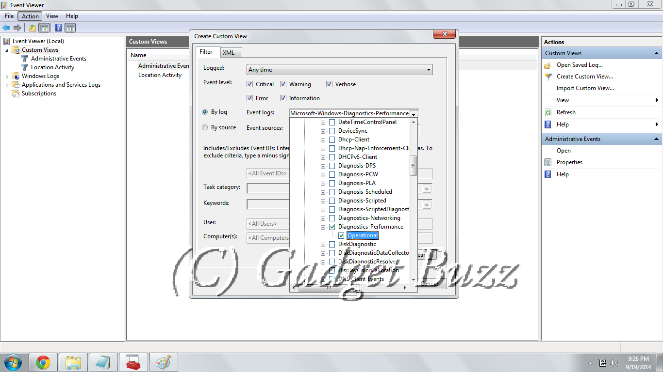 how to find event viewer in windows 7