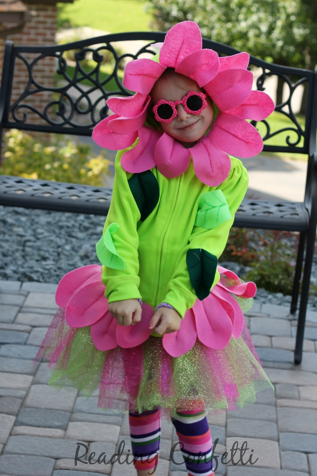 This cute flower costume is easy to make from a hooded sweatshirt and