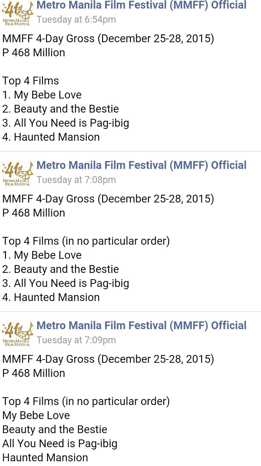 MMFF 2015 Box Office Ranking