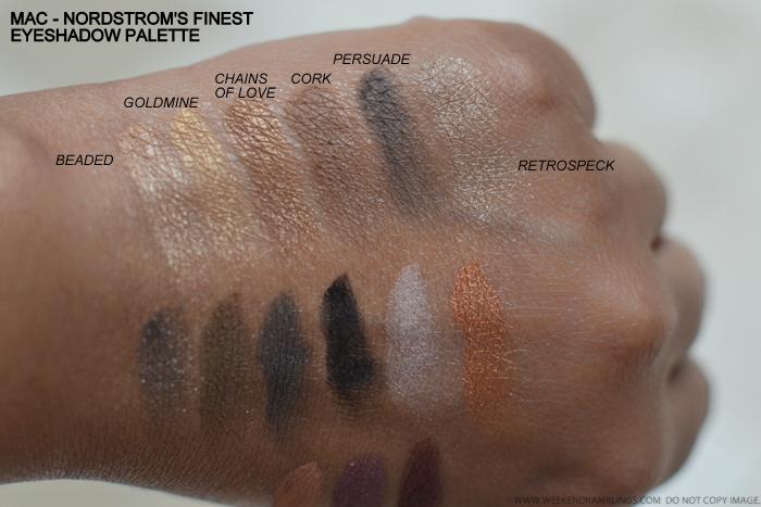MAC Nordstroms Finest Eyeshadows x 15 Palette Swatches Beaded Goldmine Chains of Love Cork Persuade Retrospeck Greensmoke Felt Print Carbon Orb Luscious Soft Brown Trax Plummed
