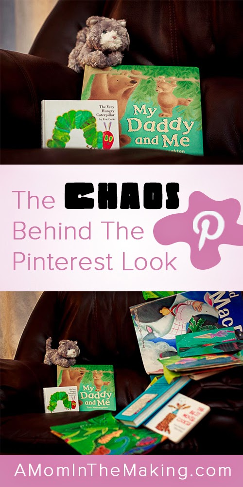 Chaos behind pinterest image with books