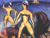 L'expressionnisme à la Pinacothèque : Kirchner, Baigneuses (île de Fehmarn), 1912
