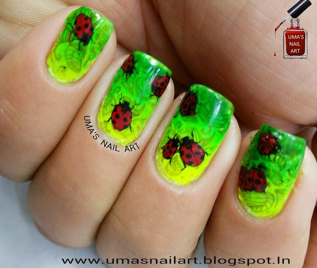 uma's nail art day-15 green base