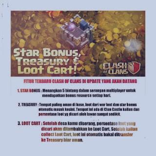 Fitu Terbaru Clash of Clans Update Terbaru 2016, penjelasan tentang Star Bonus Treasury  Loot Cart di Coc terbaru, pengaturan coc terbaru 2016, star bonus adalah, treasury adalah, loot cart adalah.