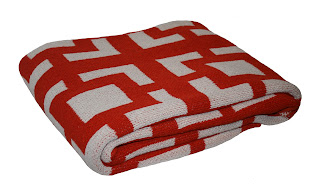 Happy Habitat Square Chain Pattern Recycled Cotton Eco Throw in Tangerine Tango