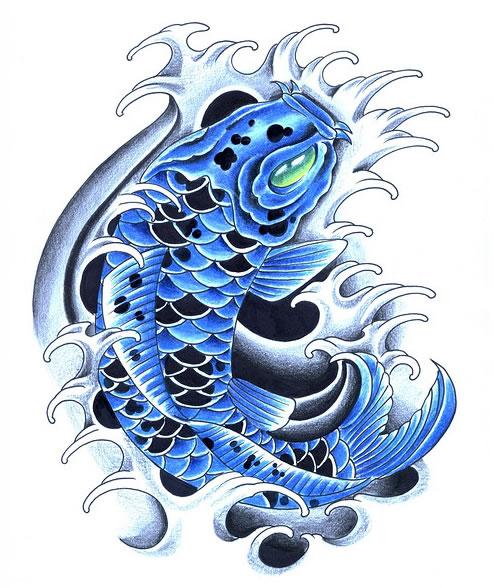 Blue koi tattoos koi fish tattoo for Blue and white koi fish