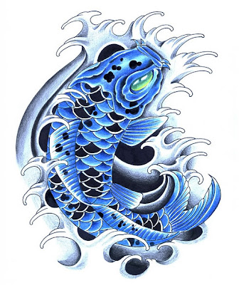 Blue koi tattoos koi fish tattoo for Blue coy fish