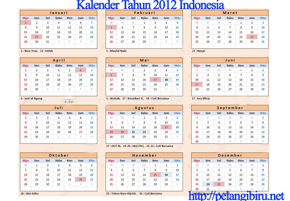 Download Kalender Tahun 2012 Indonesia