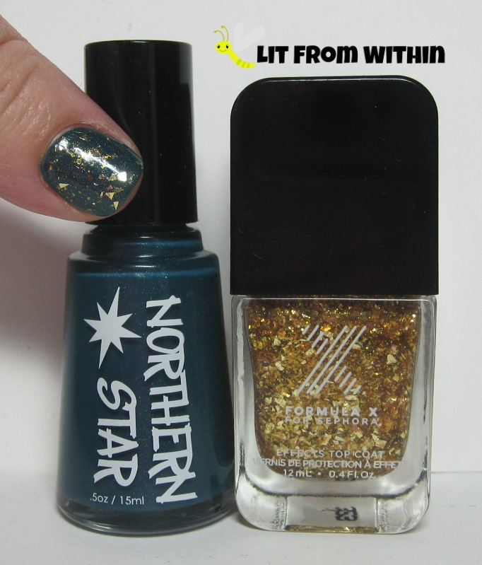 Bottle shot:  Northern Star Polish Peacock Party with Sephora Formula X Out Of Sight.
