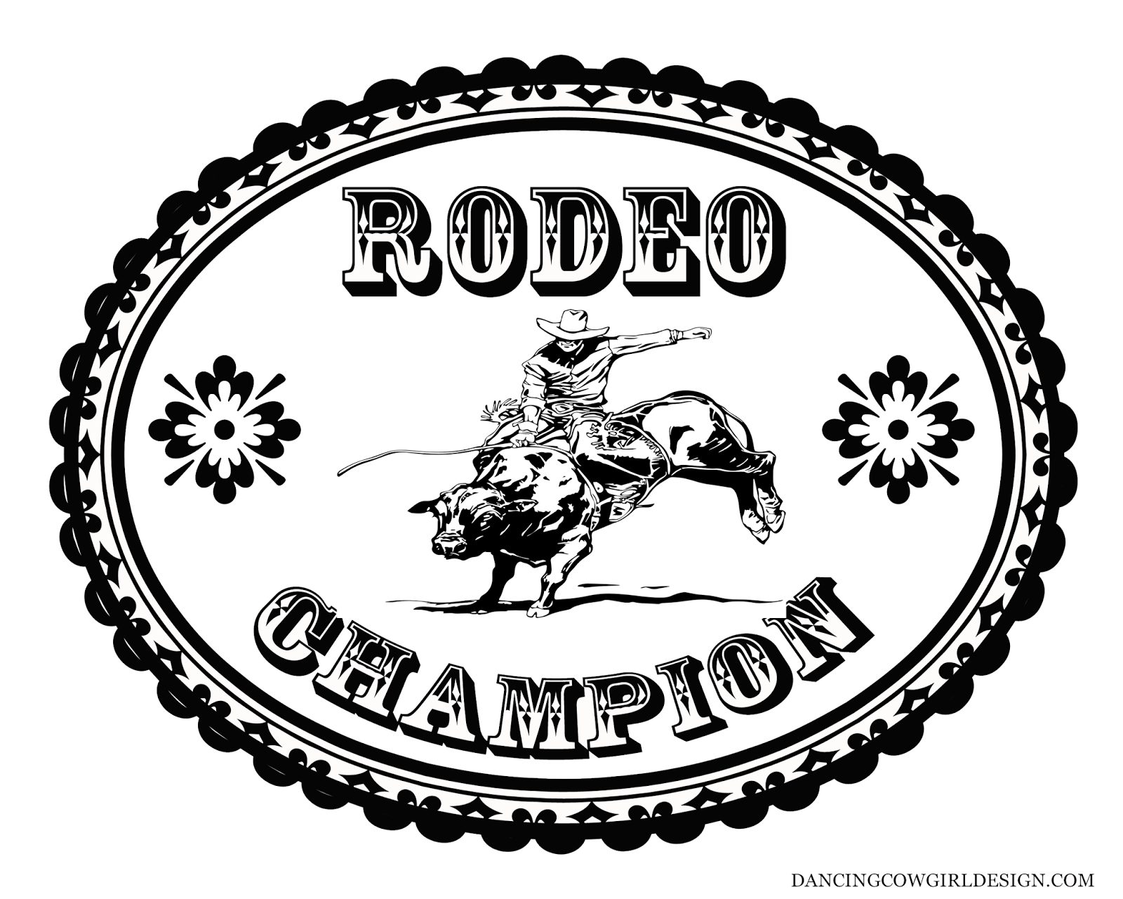 RODEO COLORING PAGES: Coloring Sheet Cowboy Rodeo Bull Rider Belt Buckle