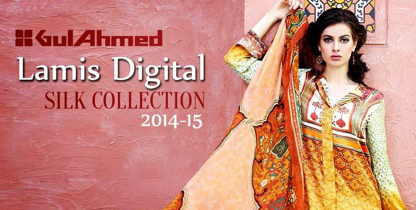 GulAhmedLamisDigitalSilkCollection2014 wwwfashionhuntworldblogspotcom 001 - Gul Ahmed Lamis Digital Silk Collection 2014