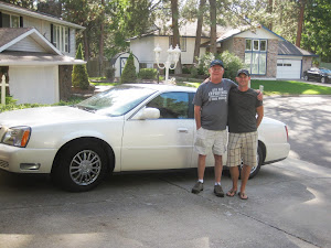 Mark and My Son with Mark's Cadallac he bought when he found out he was Ill...