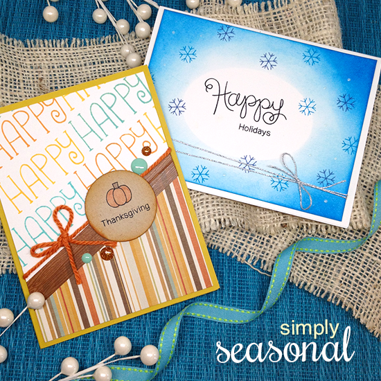 Fall and Winter Cards by Jenifer Jackson | Simply Seasonal stamp set by Newton's Nook Designs #newtonsnook