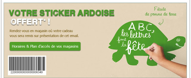 Sticker ardoise tortue gratuit Nature et Découverte