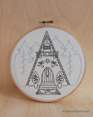 Snowflake Chalet Hand Embroidery Patterns A-Frame Cottage