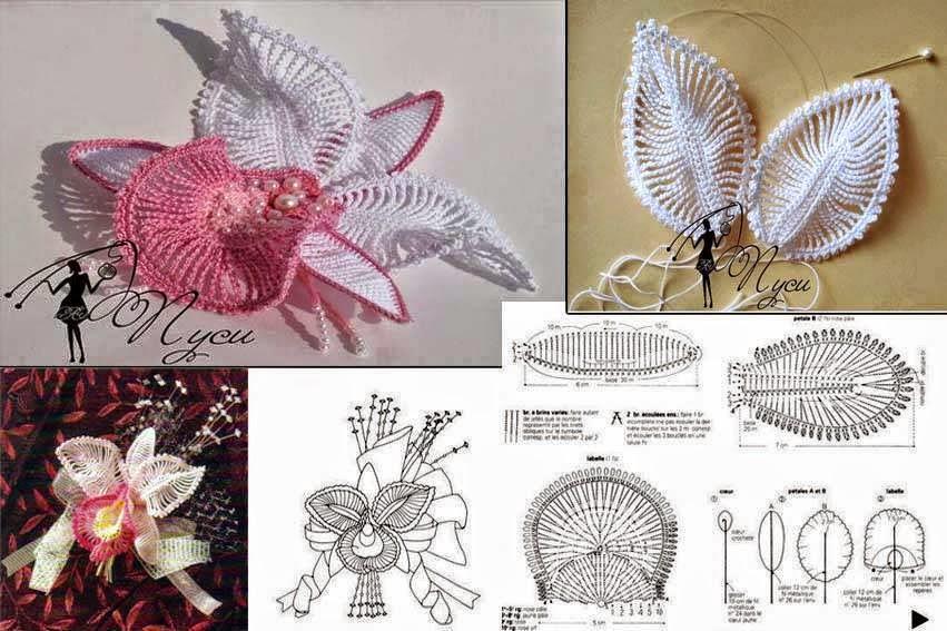 Flor orquídea tejida al crochet - con diagramas y patrones