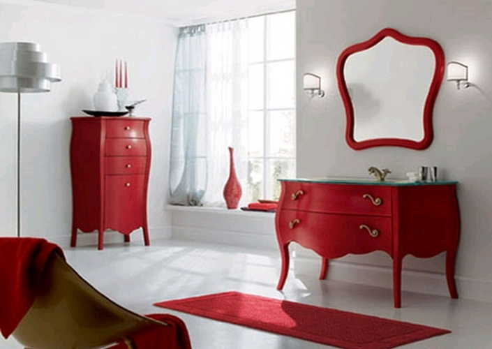 Renkli banyo dolaplar moda kad n dekorasyon for Muebles antiguos pintados de blanco
