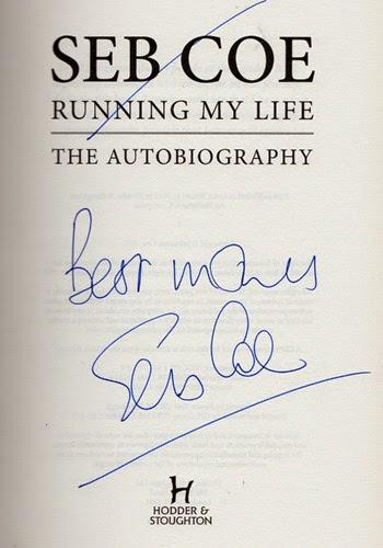 Seb Coe signed autobiography autograph book