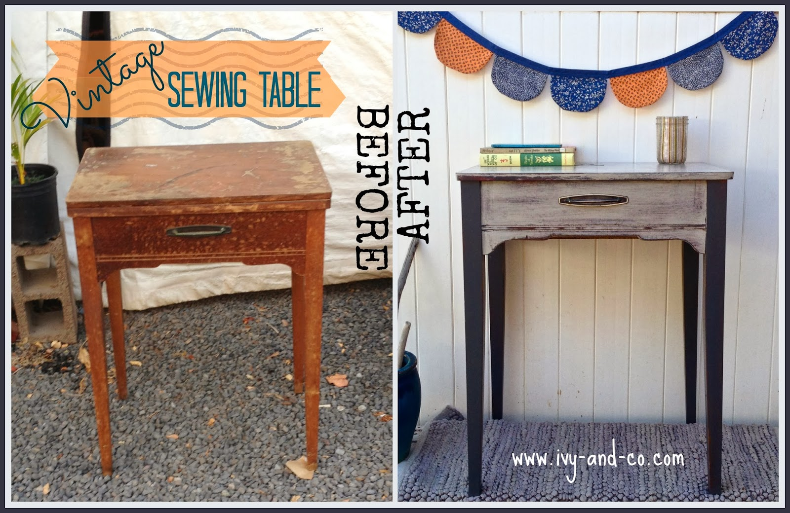 Antique sewing chair - Antique Seing Table Before And After