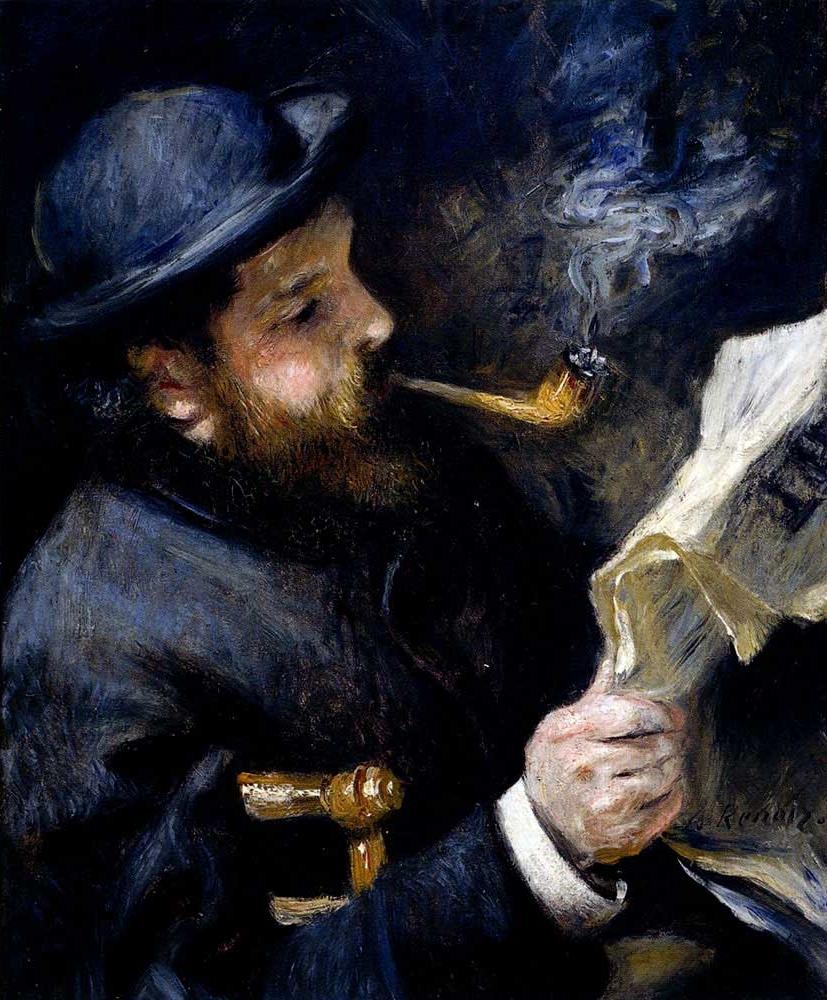 Claude Monet reading a Newspaper by Pierre Auguste Renoir, 1872