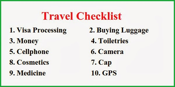 Creating a travel checklist before starting a tour