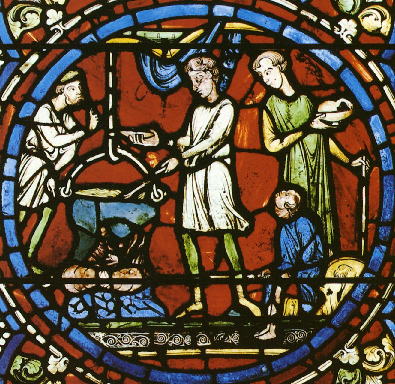 Cozinheiros. Vitral da catedral de Chartres