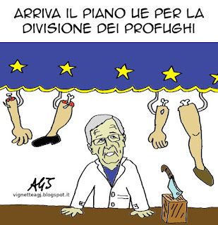 UE, profughi, Junker, satira, vignetta