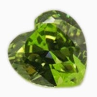 heart shape apple green cubic zirconia
