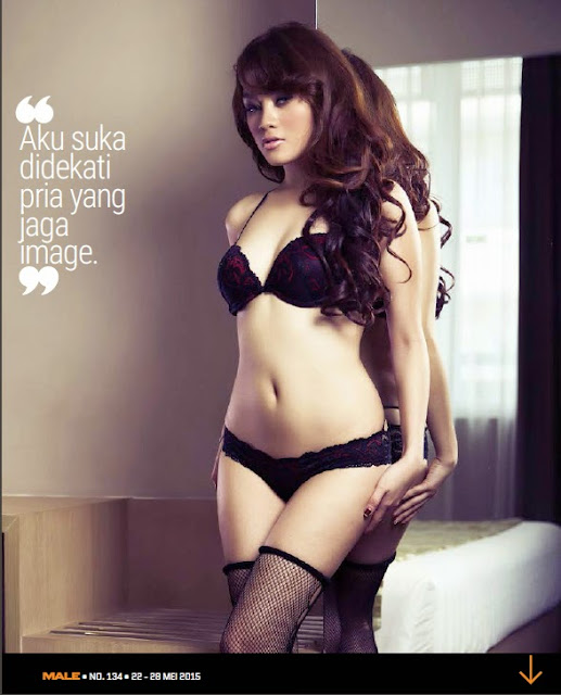 Hot Pictures Jeniffer Mentari in Lingerie on Male Magazine