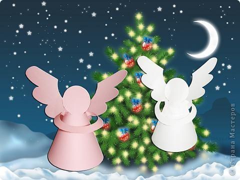 Поделка изделие Украшение Новый год Рождество Бумагопластика Рождественский ангел за 2 минуты Бумага фото 2.
