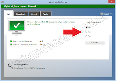 Windows Defender tarama