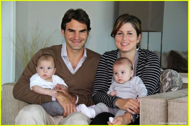Roger Federer with Mirka and Twin Girls