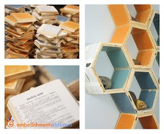 hexagon shelves by Aaron Christensen for a boy's room