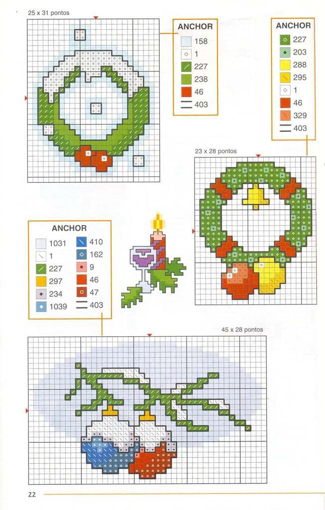 Схемы маленьких вышивок крестом новогодние