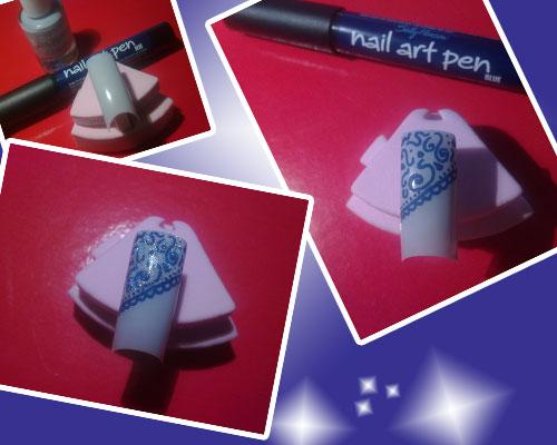 nail art con pen 05 blue e smalto crystalliced essence 04