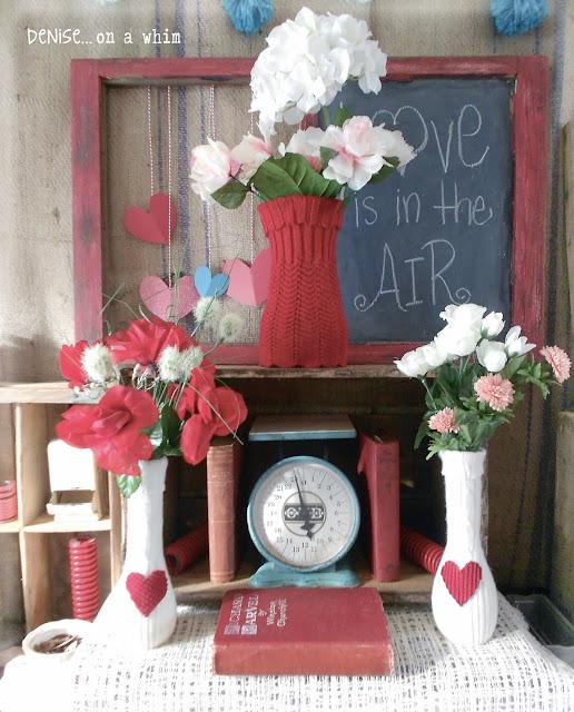 Sweater Vase and Vintage Aqua Scale via http://deniseonawhim.blogspot.com