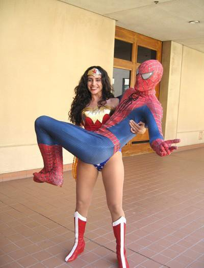 Super Women Lifting Superhero Spider Man